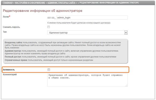 Активность администратора сайта
